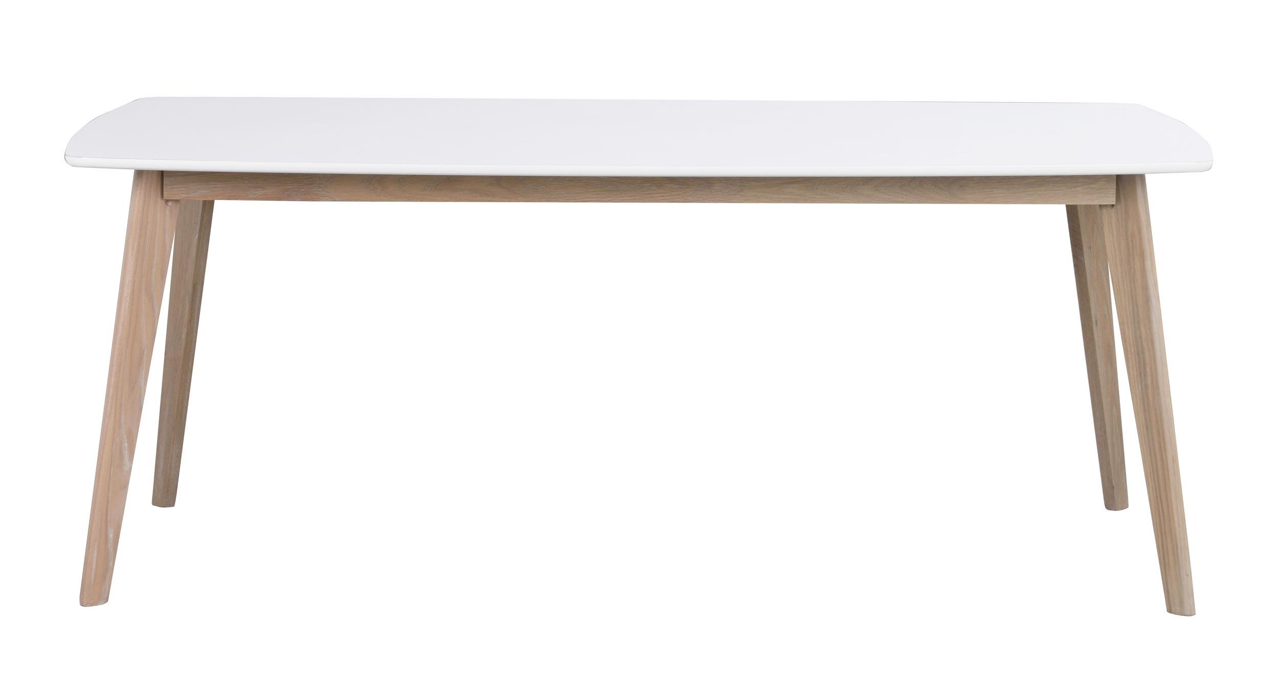 Olivia spisebord - hvid/hvidvasket eg m. udtræk (190x90)