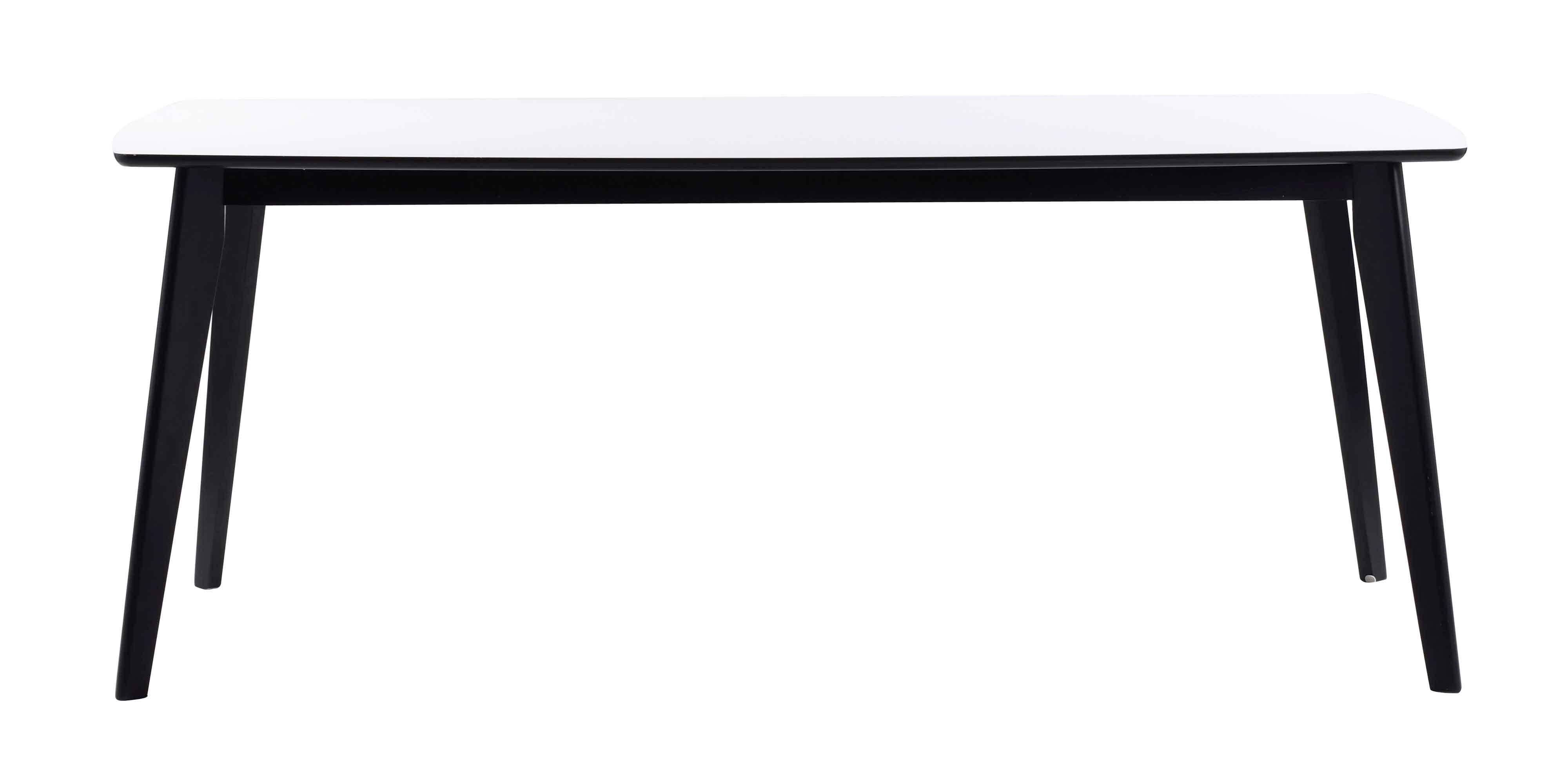 Olivia spisebord - Hvid bordplade, sortlakeret egetræsben, m. udtræk 190x90