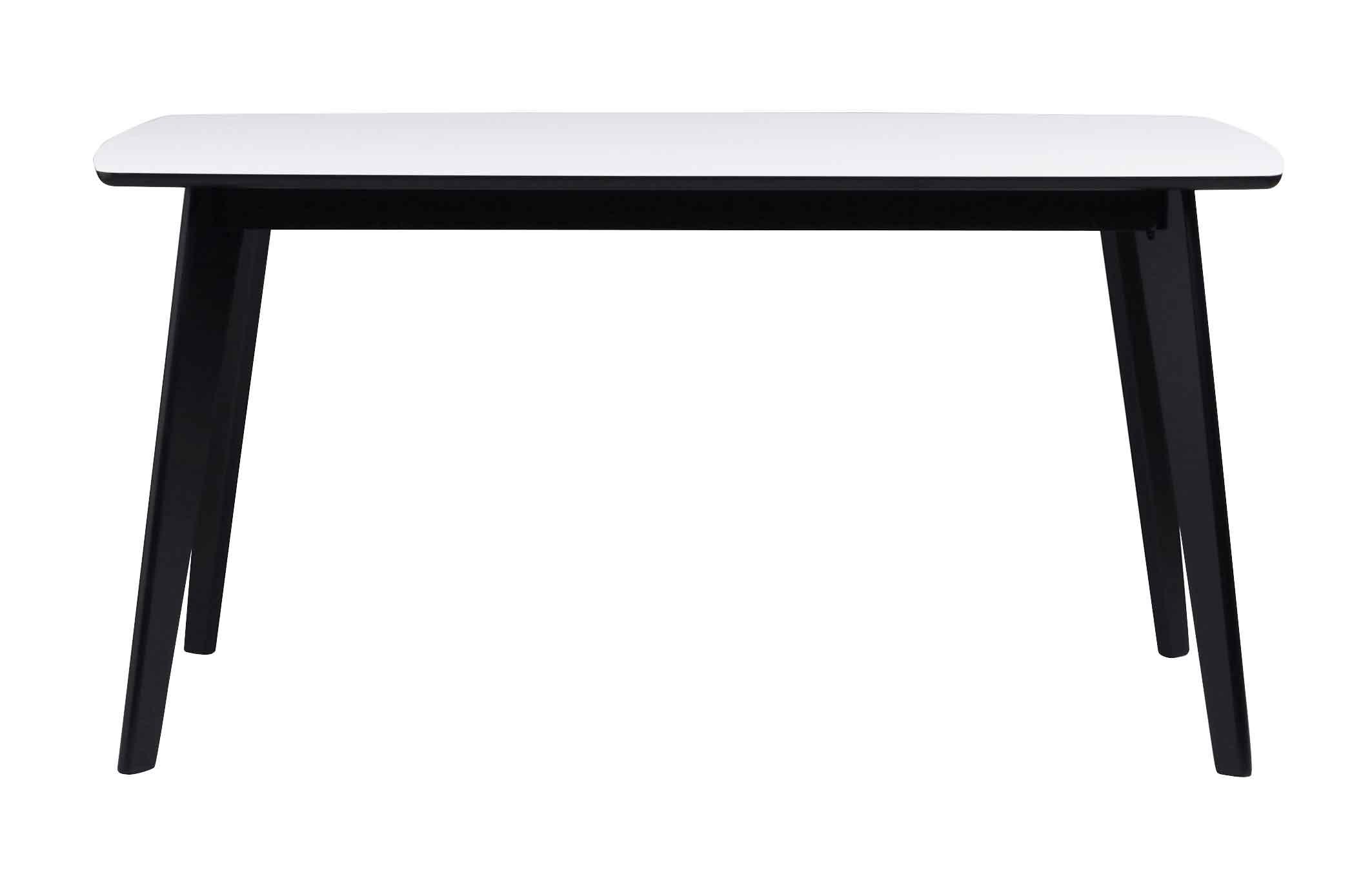 Olivia spisebord - hvid/sort m. udtræk (150x90)