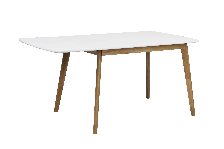 Olivia klapbord - Hvid bordplade lakeret egetræsben, 120+40