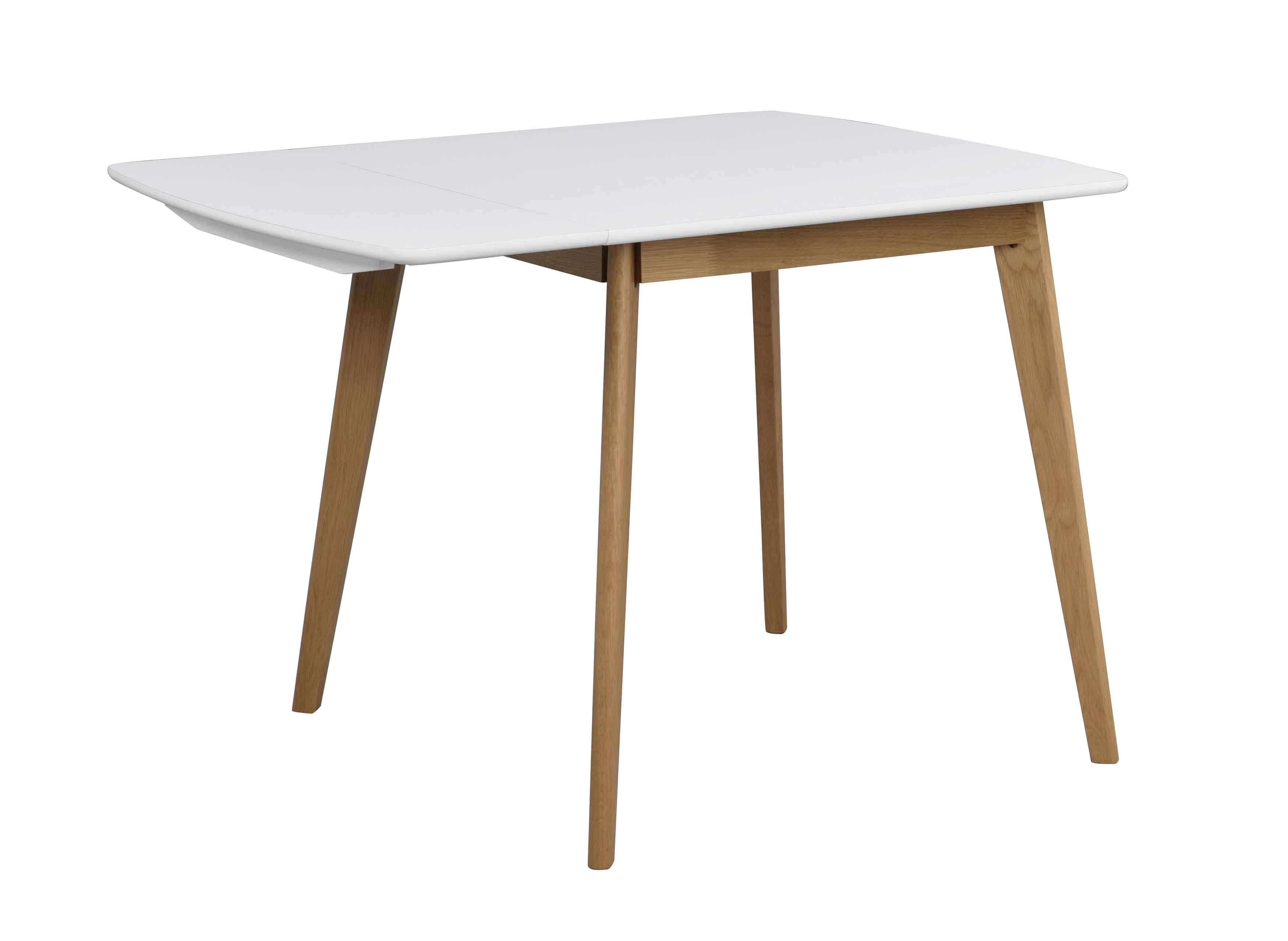 Olivia klapbord - Hvid bordplade, lakeret egetræsben, 80+30