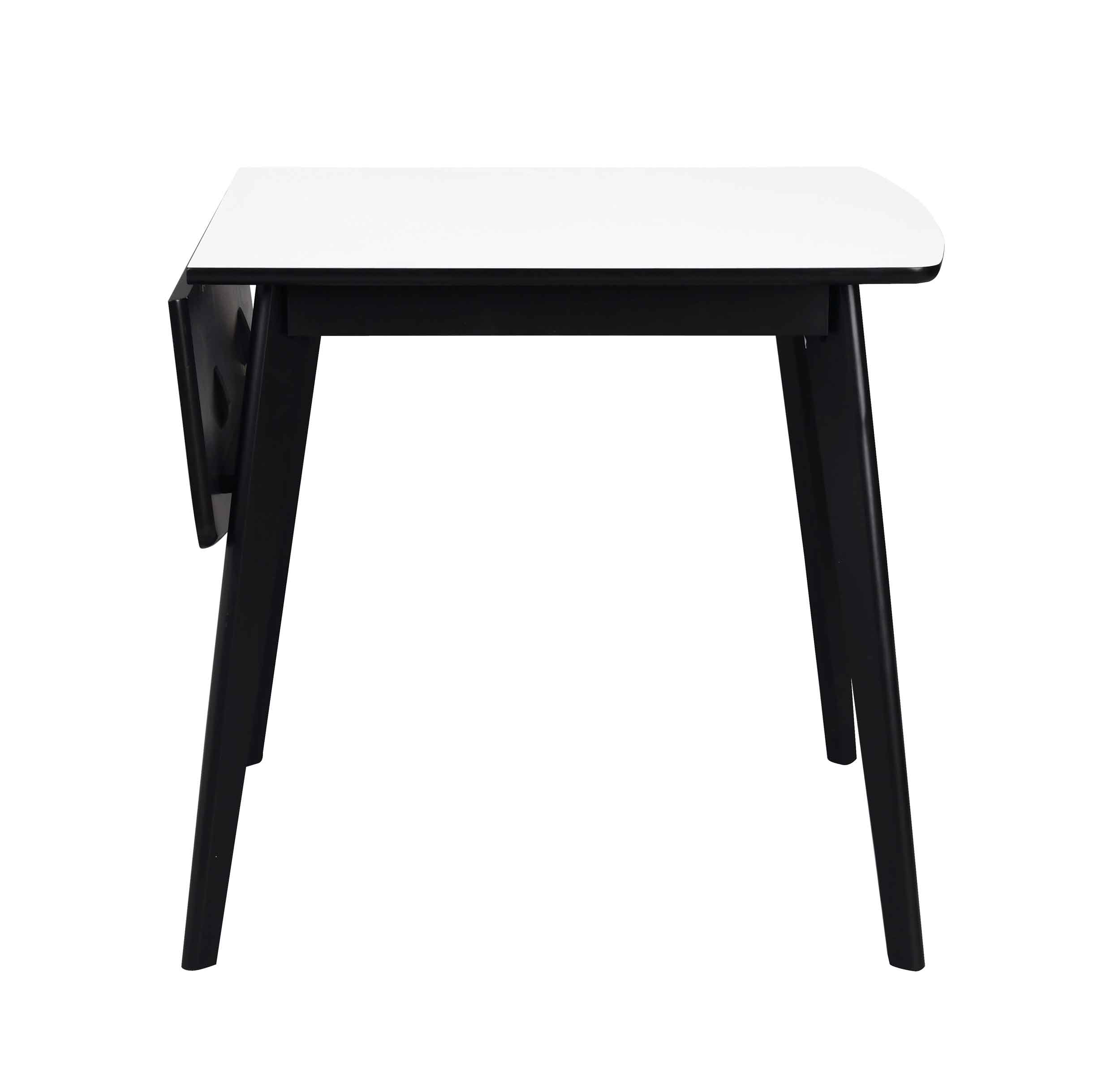 Olivia klapbord - Hvid bordplade, sortlakeret egetræsben, 80+30