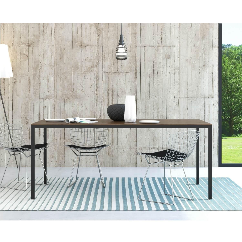 Moderne Family spisebord i kvalitet valnød træ og sort stel
