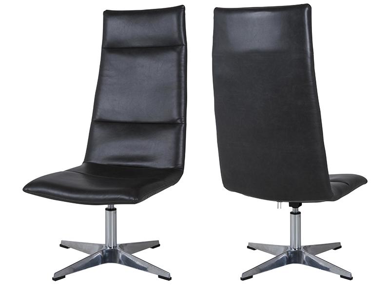 canett Canett rye brook loungestol - sort kunstlæder m. aluminium fod, m. tilt- og drejefunktion på boboonline.dk