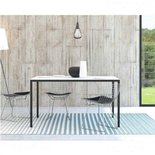 Family spisebord i hvid/sort træ - 140x90