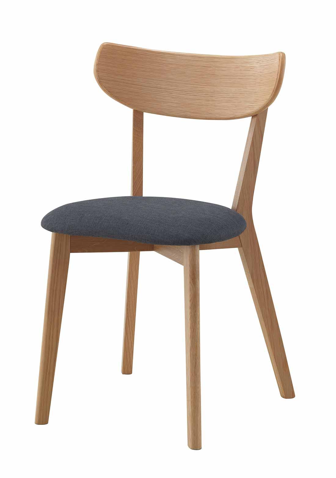 Sanna spisebordsstol - Lakeret egetræ, grå stof hynde