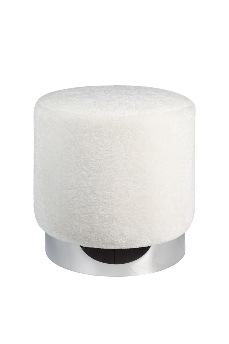 RGE Bling puf - hvid syntetisk pels og sølv, rund (Ø40) thumbnail