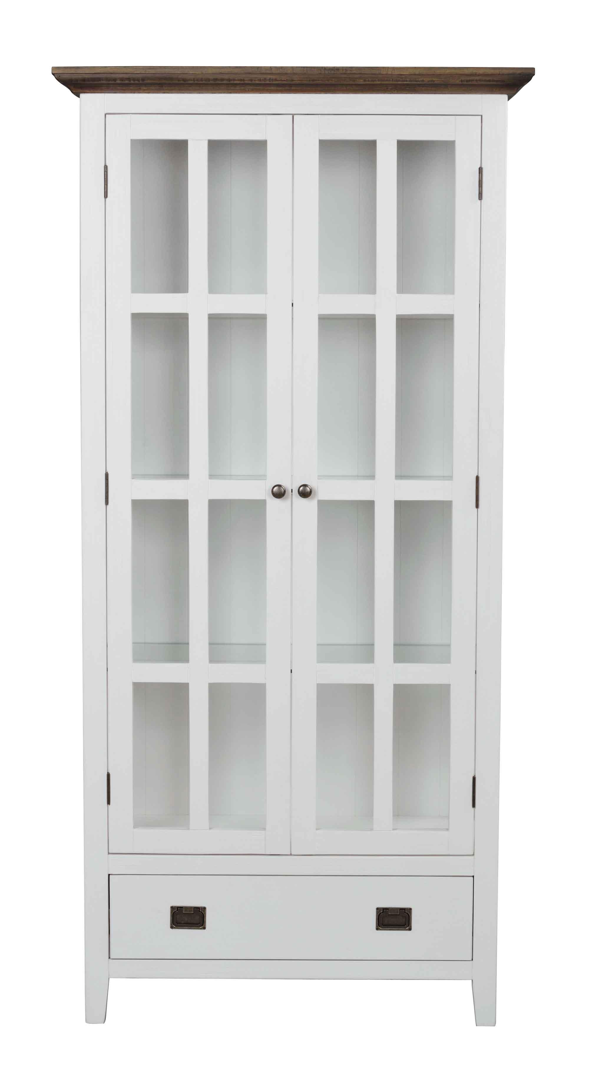 Nottingham vitrineskab - hvid m. 2 glaslåger og 1 skuffe