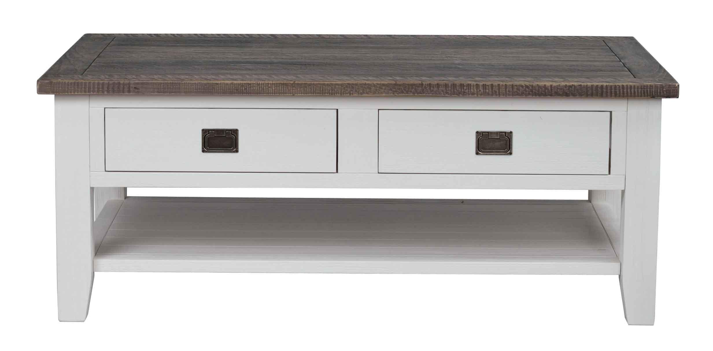 Nottingham sofabord - brun/hvid m. 2 skuffer og 1 hylde