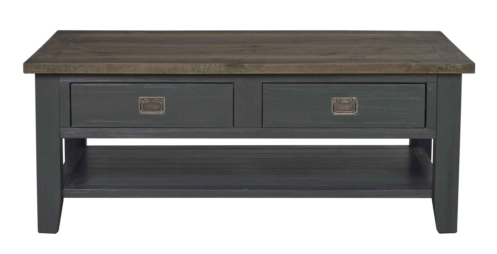 Nottingham sofabord - brun/grå m. 2 skuffer og 1 hylde