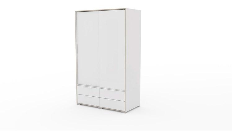 Billede af Line Garderobeskab i hvid og eg struktur