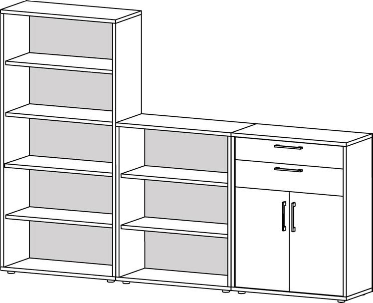 Prima reolsystem m. åbne hylder, 2 skuffer, 2 låger - Hvid