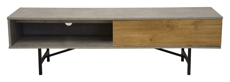 RGE Omega TV-bord - grå/natur MDF, m. 1 rum og 1 skuffe
