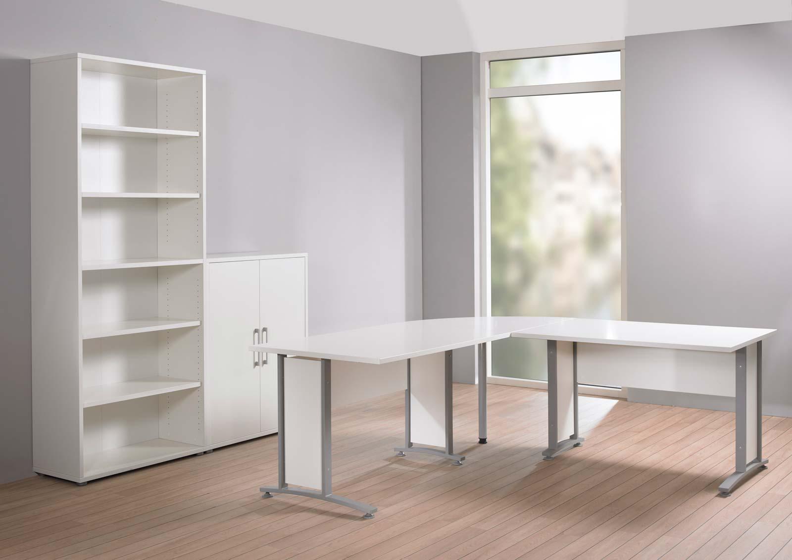 Prima stort skrivebord - Hvid/Sølvgrå stål