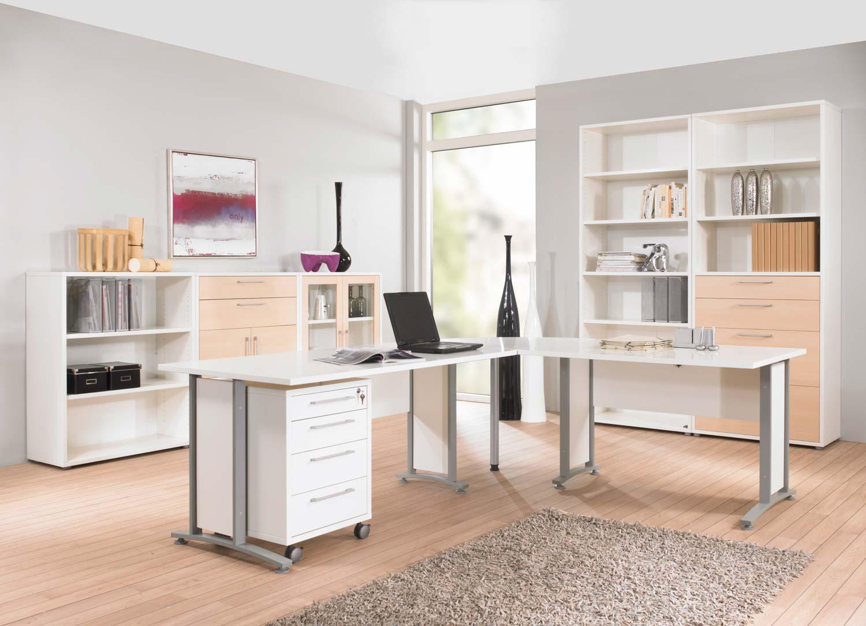 Prima Hjørneskrivebord - Hvid Træ M. Stålstel, M. 4 Skuffer Kontor