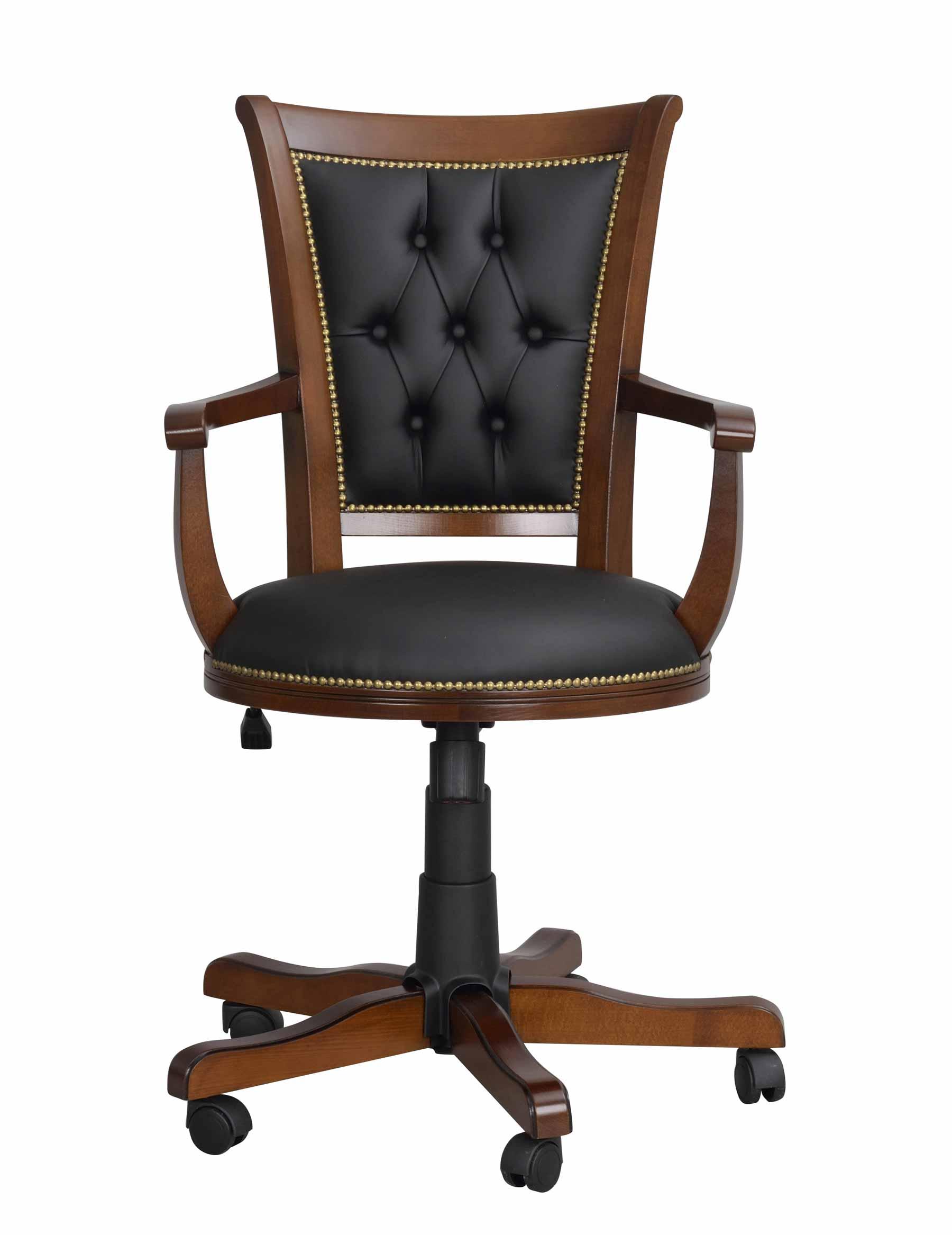 Image of   Skipper skrivebordsstol - Lakeret træ, sort læder, m. hæve/sænke funktion