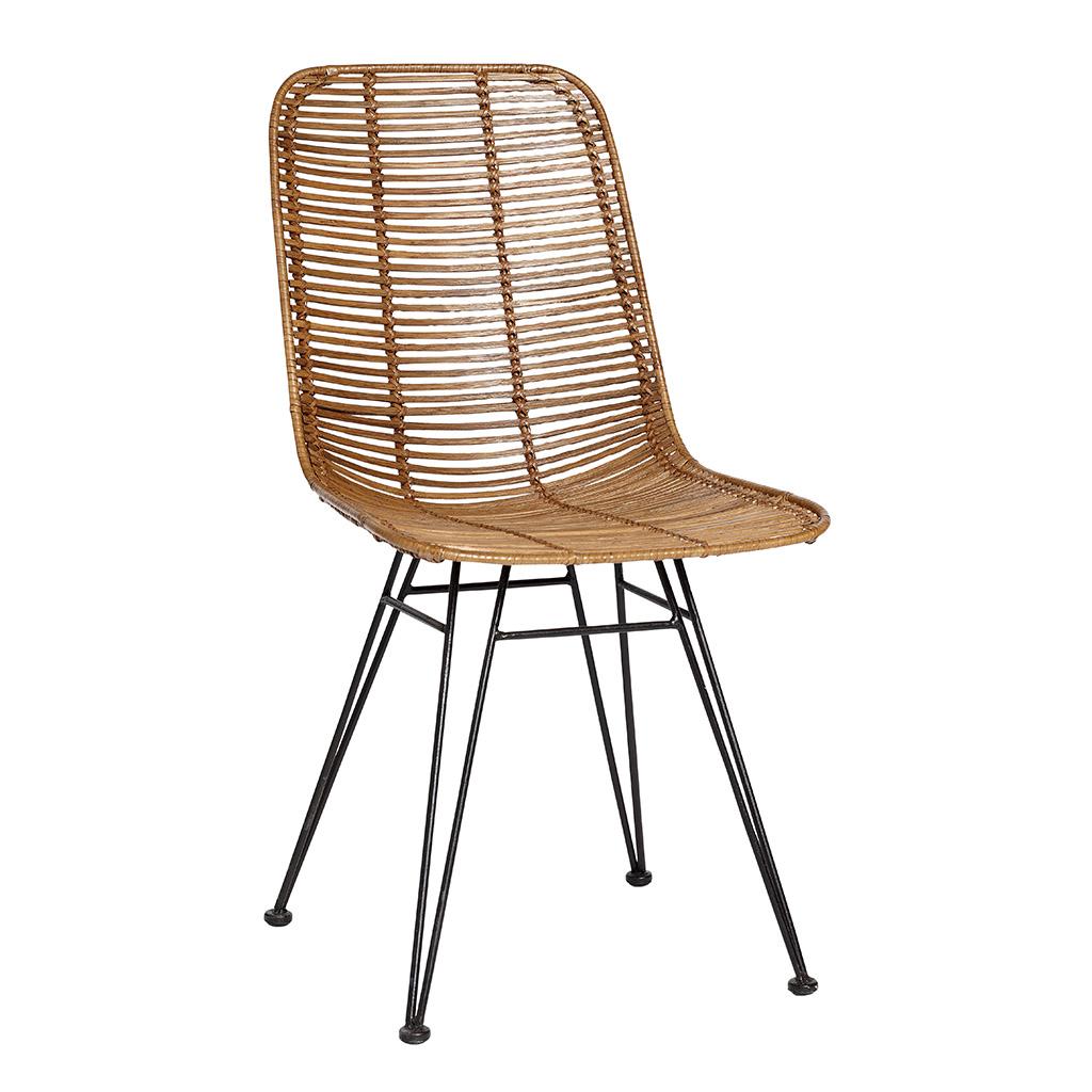 H?bsch studio spisebordsstol - natur flet og sorte stålben fra hübsch fra boboonline.dk