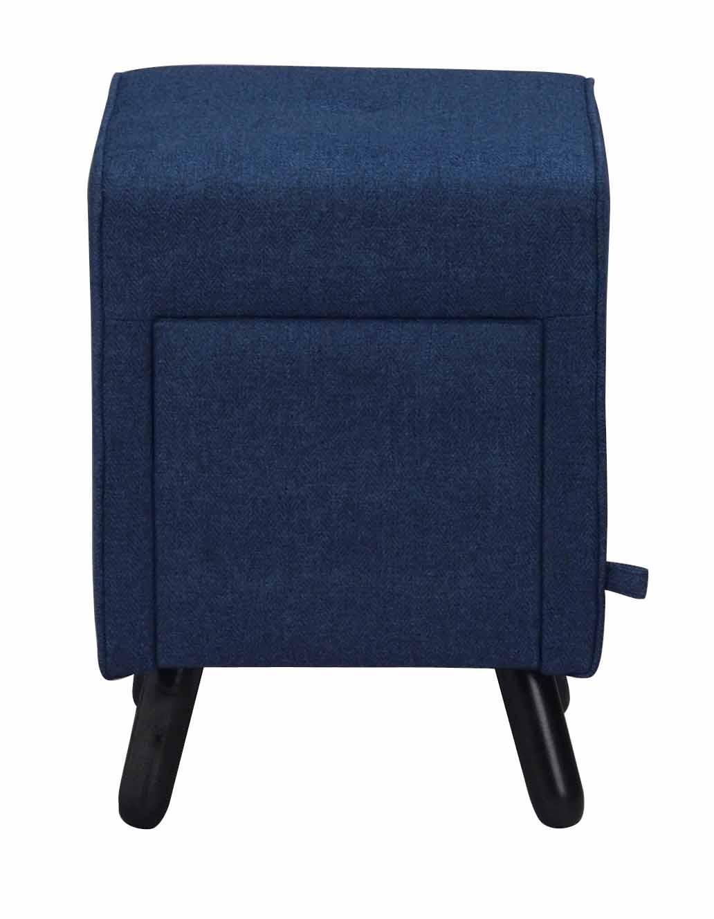 Image of   Mint puf - blåt stof og sorte ben, m. 1 skuffe