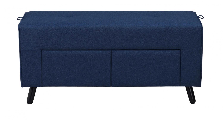 Billede af Mint puf - blåt stof og sorte ben, m. 2 skuffer
