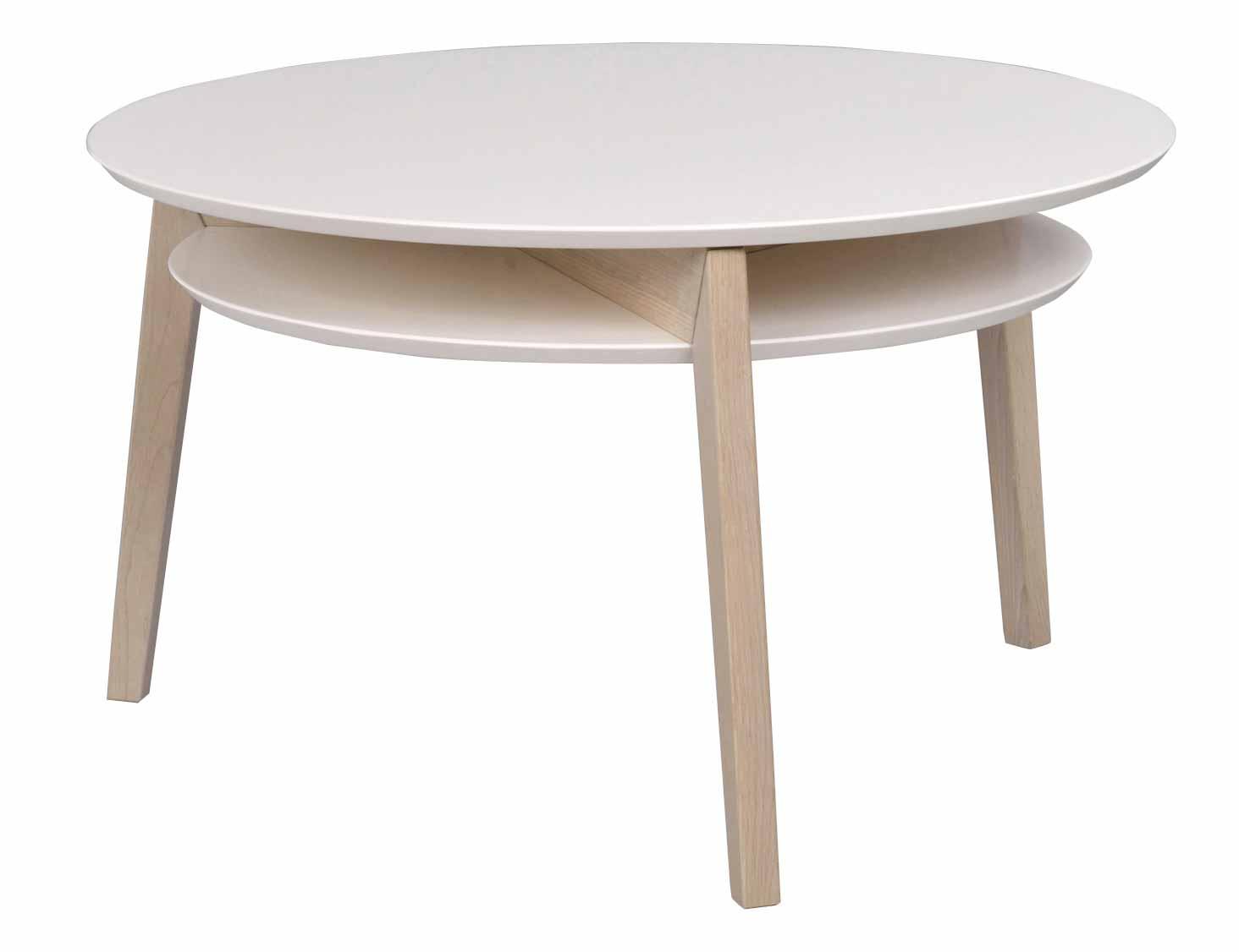 Rodeo sofabord - Hvidpigmenteret egetræ, rundt (Ø:85)