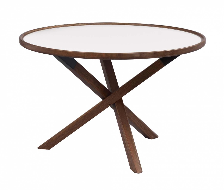 Morris sofabord - hvid/valnød, rund (Ø80)