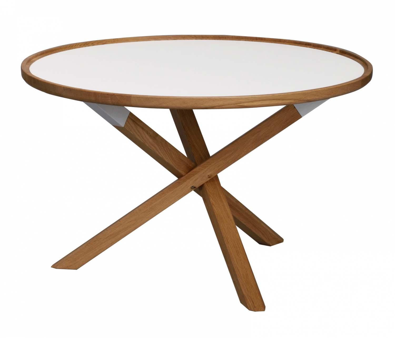 Morris sofabord - hvid/eg, rund (Ø80)