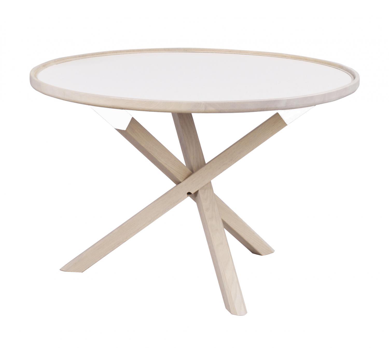Morris sofabord - hvid/hvidolieret eg, rund (Ø80)