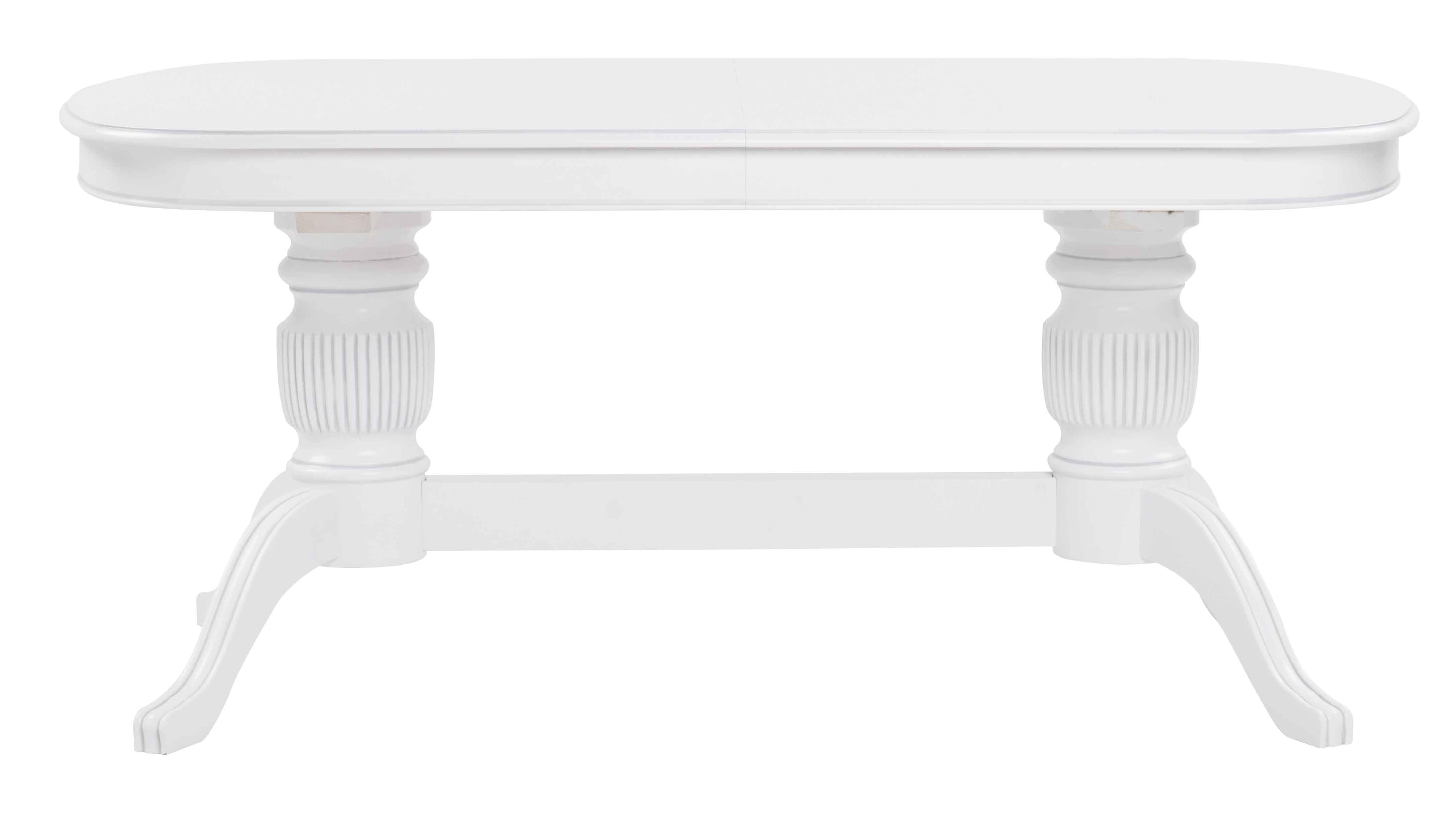 Mozart spisebord - hvid, oval incl. 2 tillægsplader