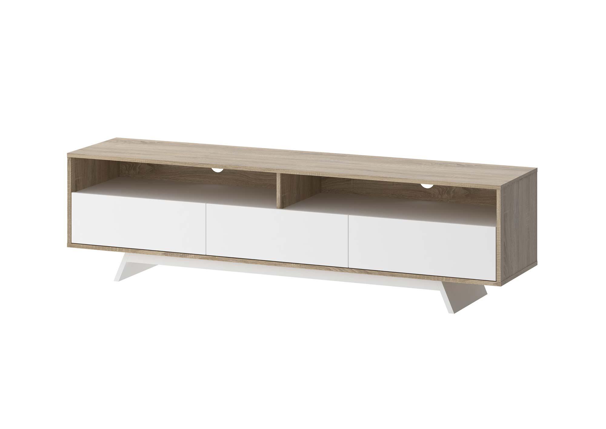 Image of   Match lavt TV-bord med opbevaring - Eg/Hvid