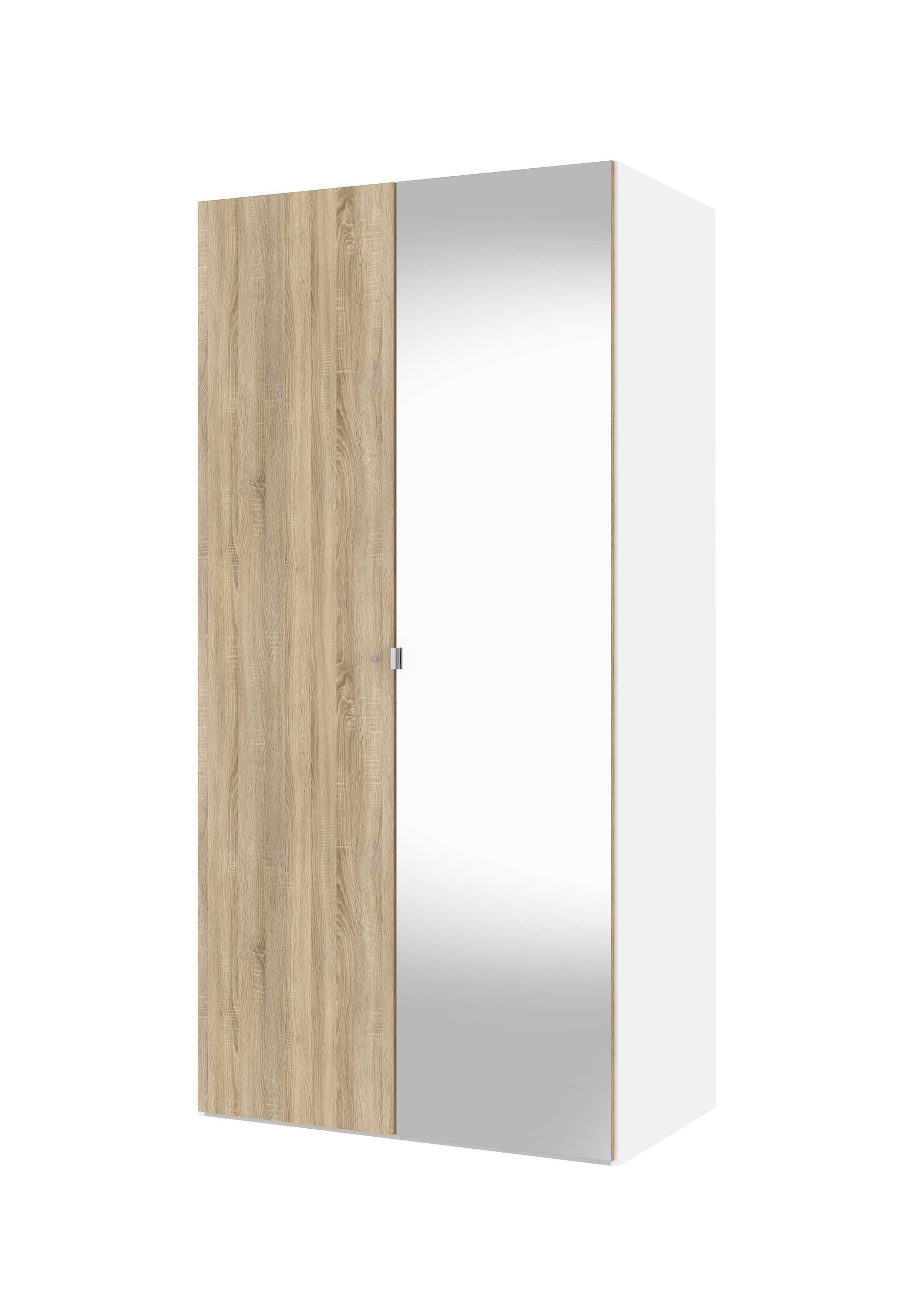 Billede af Save garderobeskab (100 cm) i hvid/eg struktur med spejl
