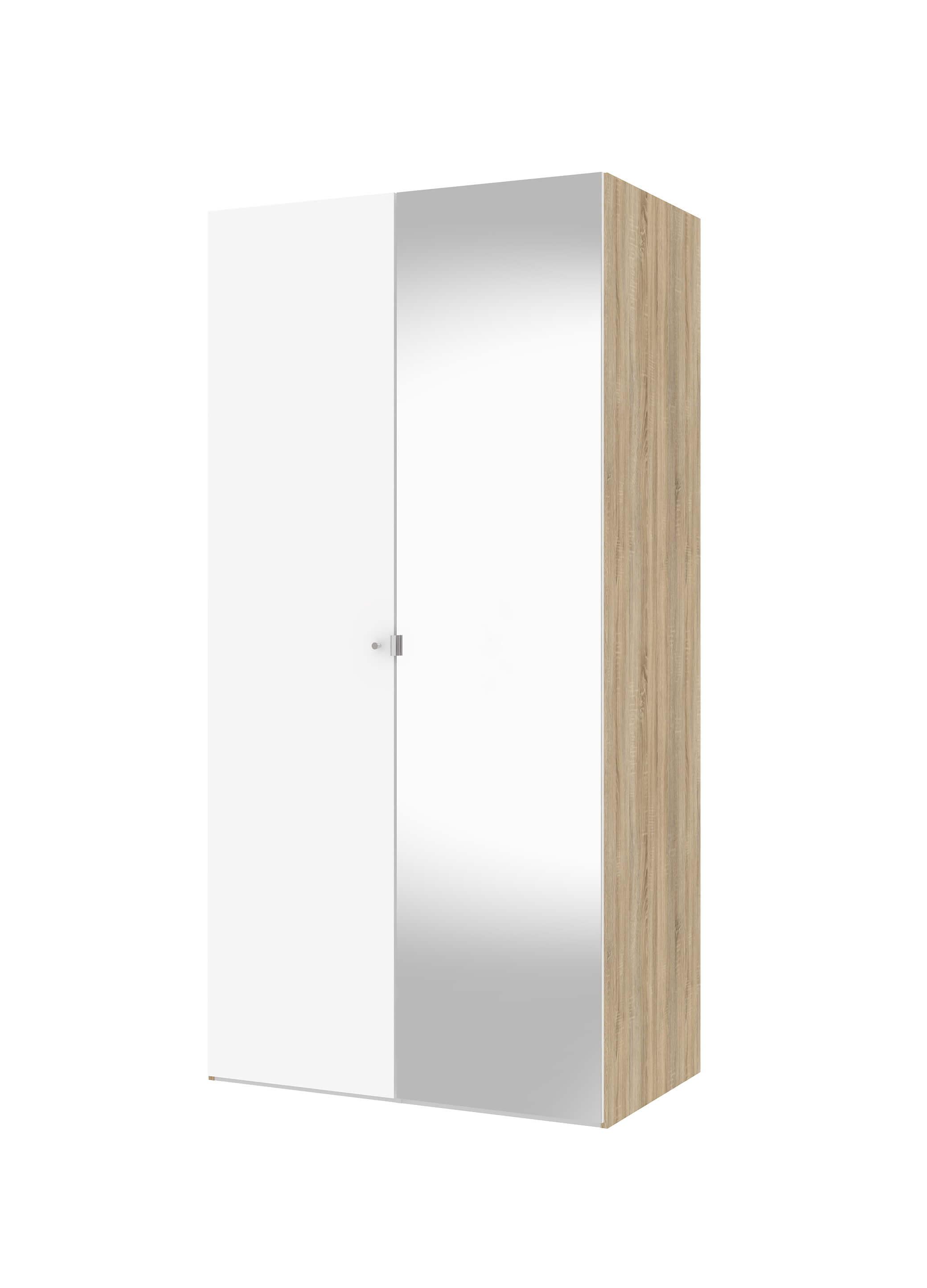 Billede af Save garderobeskab (100 cm) i eg struktur/hvid med spejl