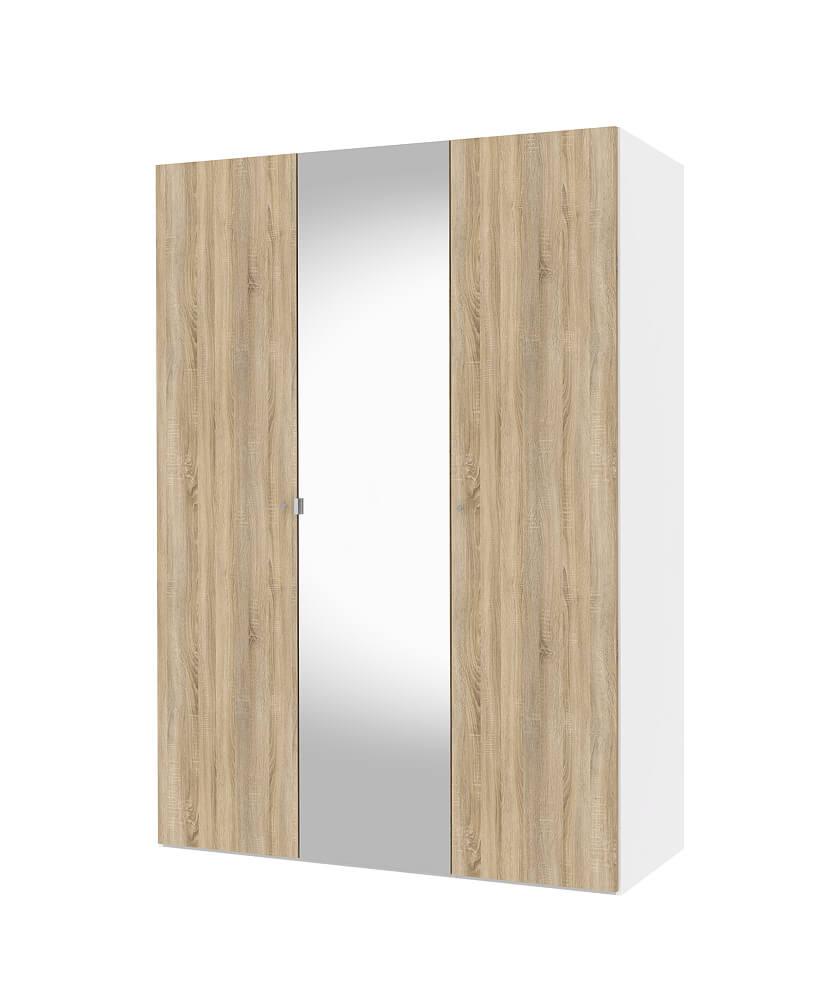 Billede af Save garderobeskab (150 cm) i hvid/eg struktur med spejl