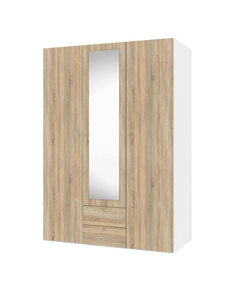 Billede af Save garderobeskab (150 cm) i hvid/eg struktur med spejl og skuffer