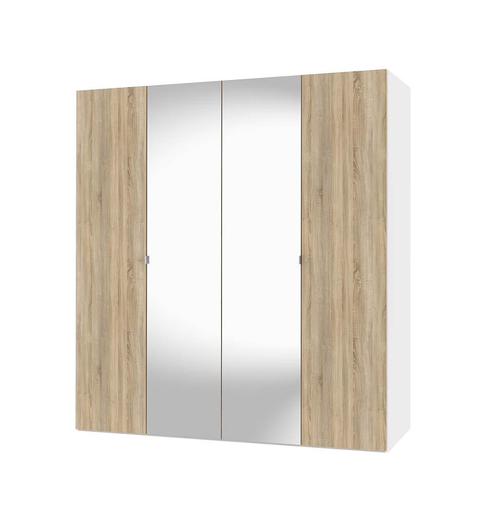 Billede af Save Garderobeskab (200 cm) i hvid/eg struktur med spejl
