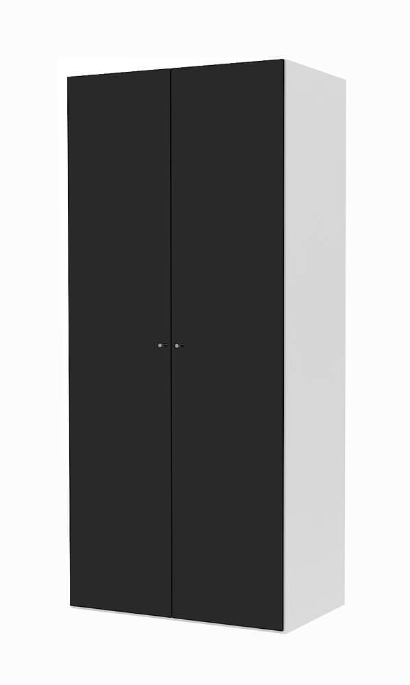 Billede af Save garderobeskab (100 cm) i hvid med låger i sort højglans
