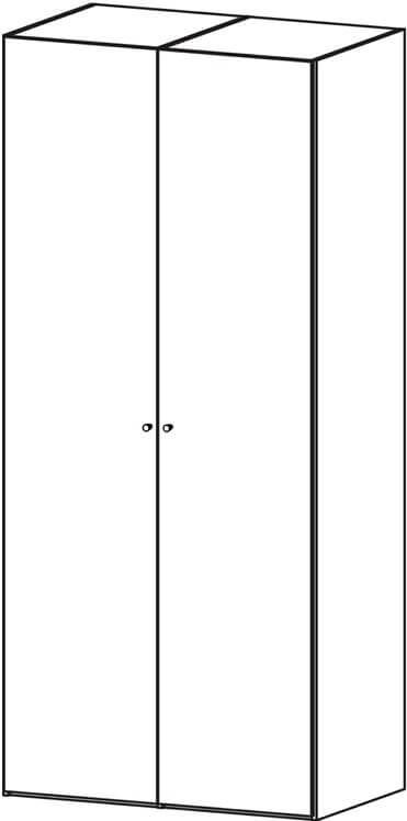 Billede af Save garderobeskab (100 cm) i eg struktur med sorte låger