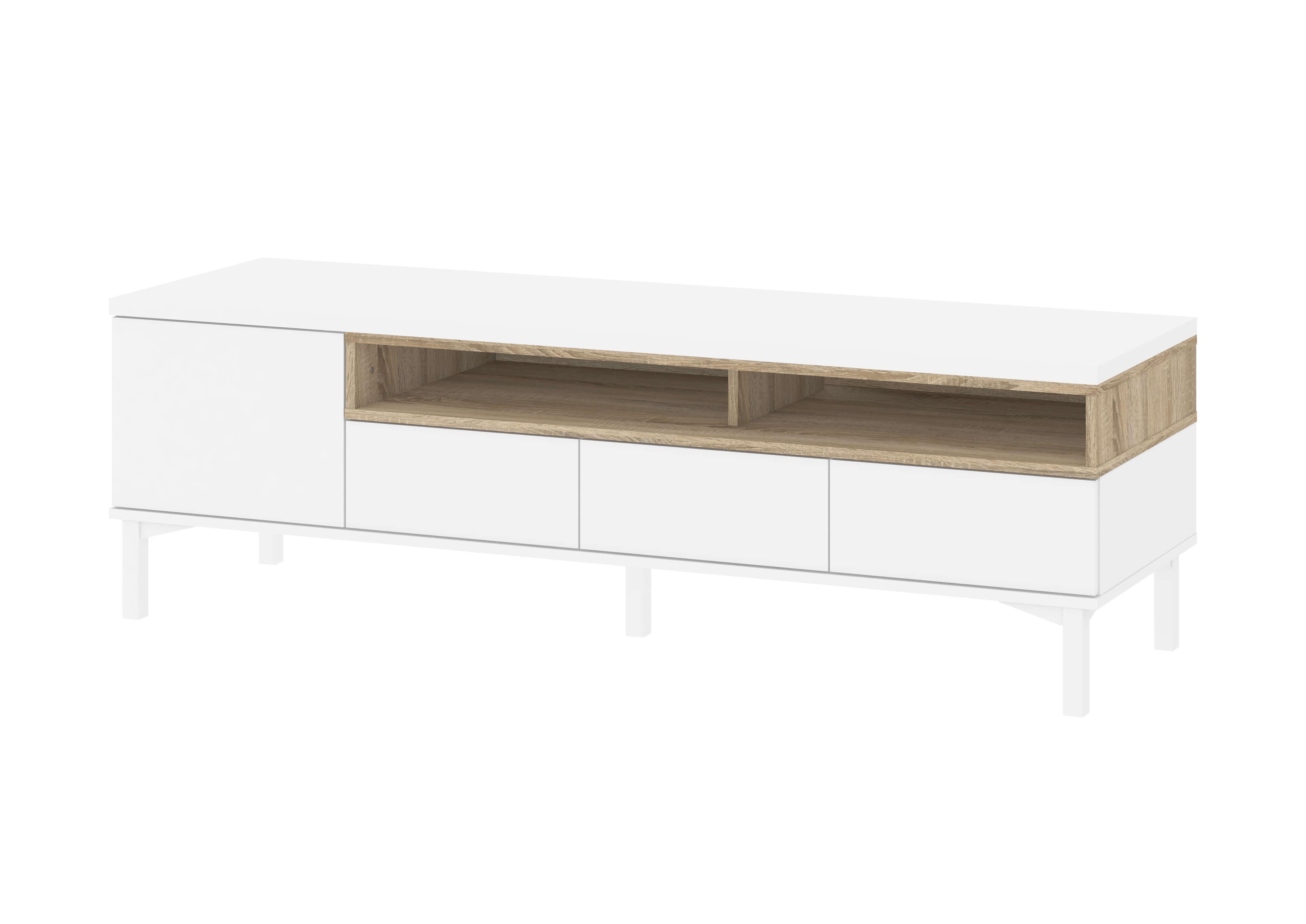 Billede af Roomers TV-bord - Hvid/Eg med opbevaring