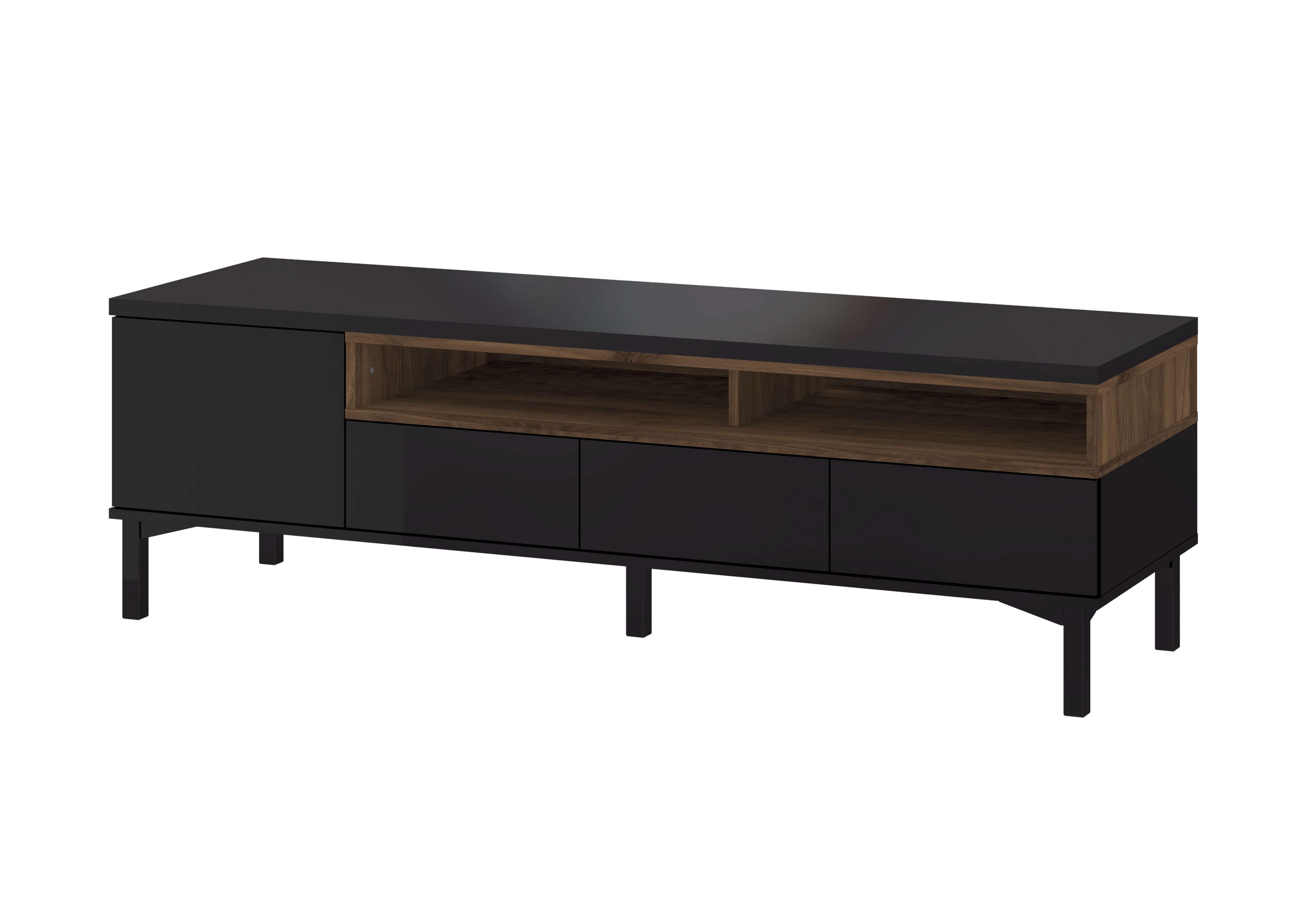 Roomers TV-bord - Sort/Valnød Komposittræ, m. opbevaring, uden hjul, (48x156)