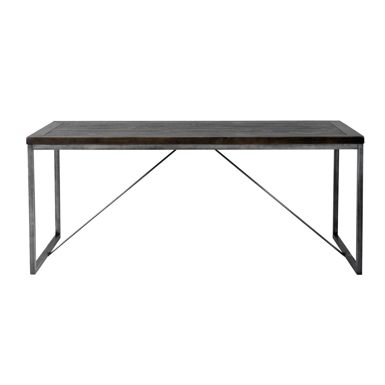 ROWICO rektangulær Dalton spisebord m. udtræk - sort fyrretræ og metal (180x90)