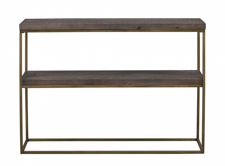 Image of   Dalton konsolbord - brunt træ/metal, m. 1 hylde