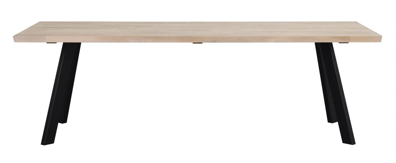 Fred plankebord - hvidolieret eg og sort metal (240x100)