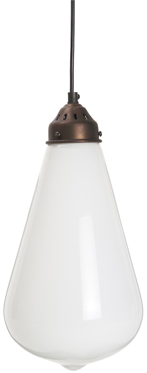 Billede af IB LAURSEN Hængelampe opal glas sort plastik ledning