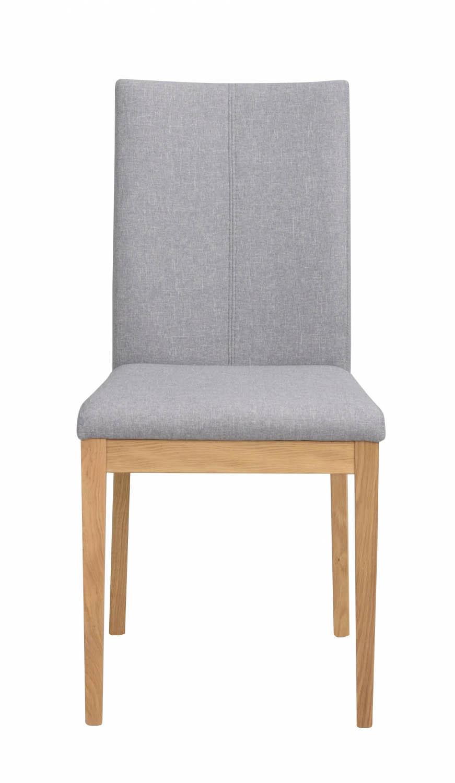 Billede af Amanda spisebordsstol - lysegråt stof m. egetræsben