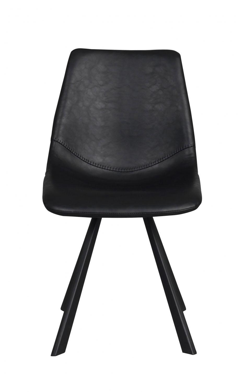 Image of   Alpha spisebordsstol - sort PU læder m. metalben