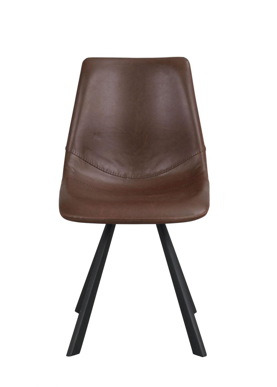 Billede af Alpha spisebordsstol - cognac PU læder m. sorte metalben