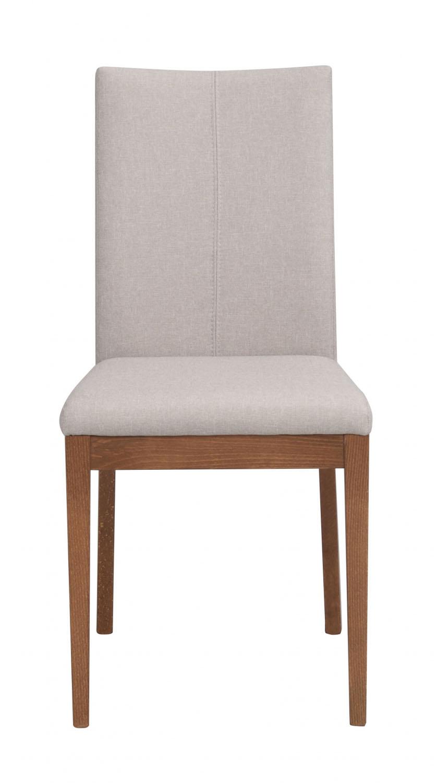 Image of   Amanda spisebordsstol - beige stof m. ben af valnøddetræ