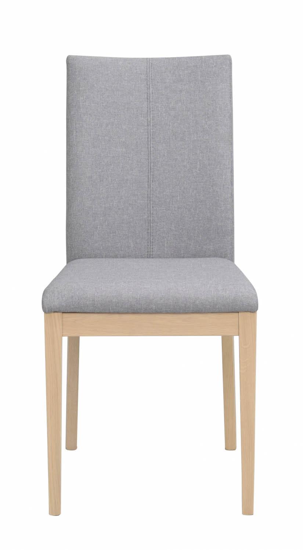 Image of   Amanda spisebordsstol - lysegråt stof og hvidolieret træ