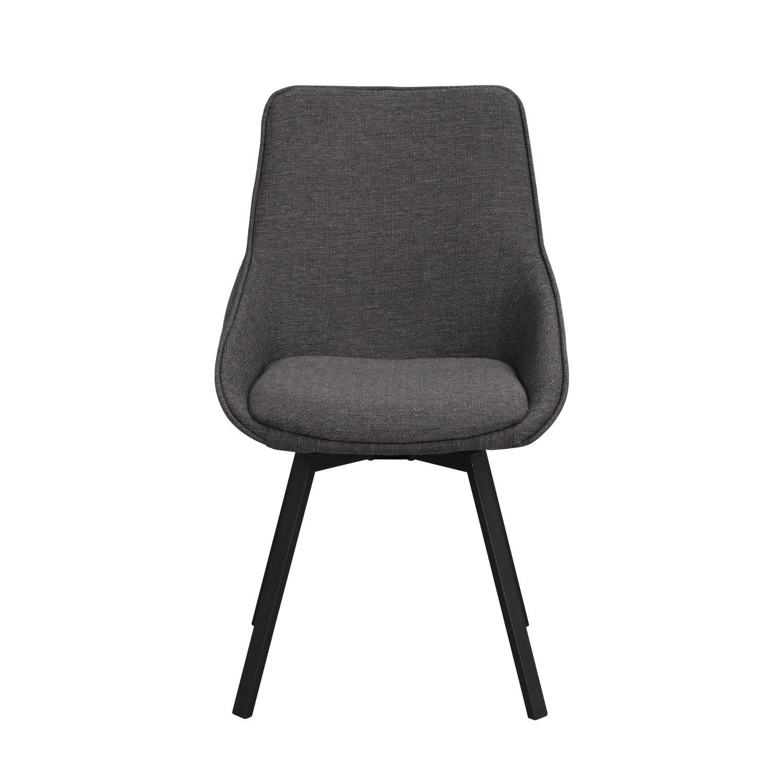 ROWICO Alison spisebordsstol m. drejelige ben og armlæn - grå stof og sort metal
