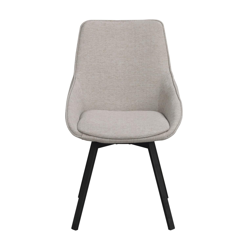 ROWICO Alison spisebordsstol m. drejelige ben og armlæn - beige stof og sort metal