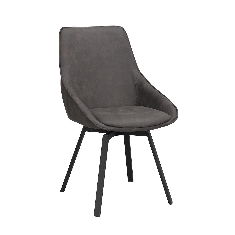 ROWICO Alison spisebordsstol, m. drejesæde og armlæn - grå microfiber og sort metal